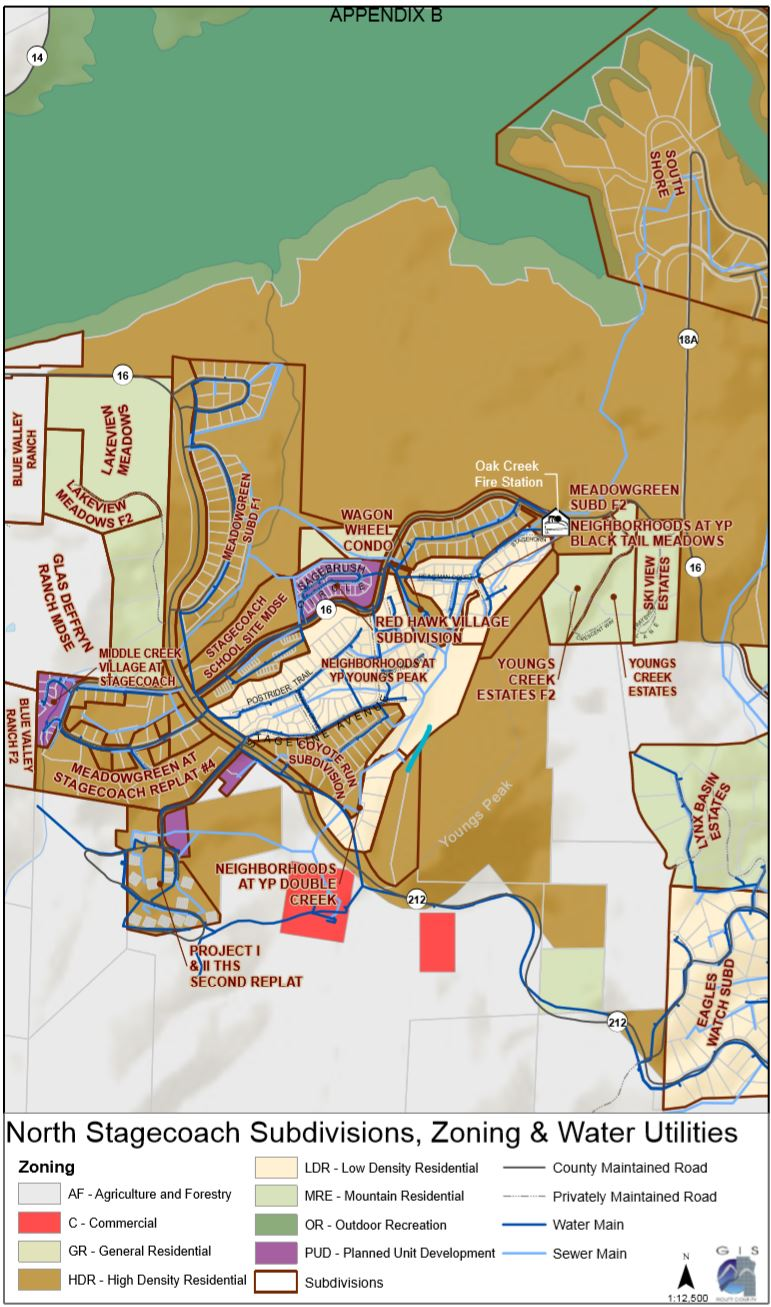 Map of Stagecoach subdivisions showing the zoning and water utilties